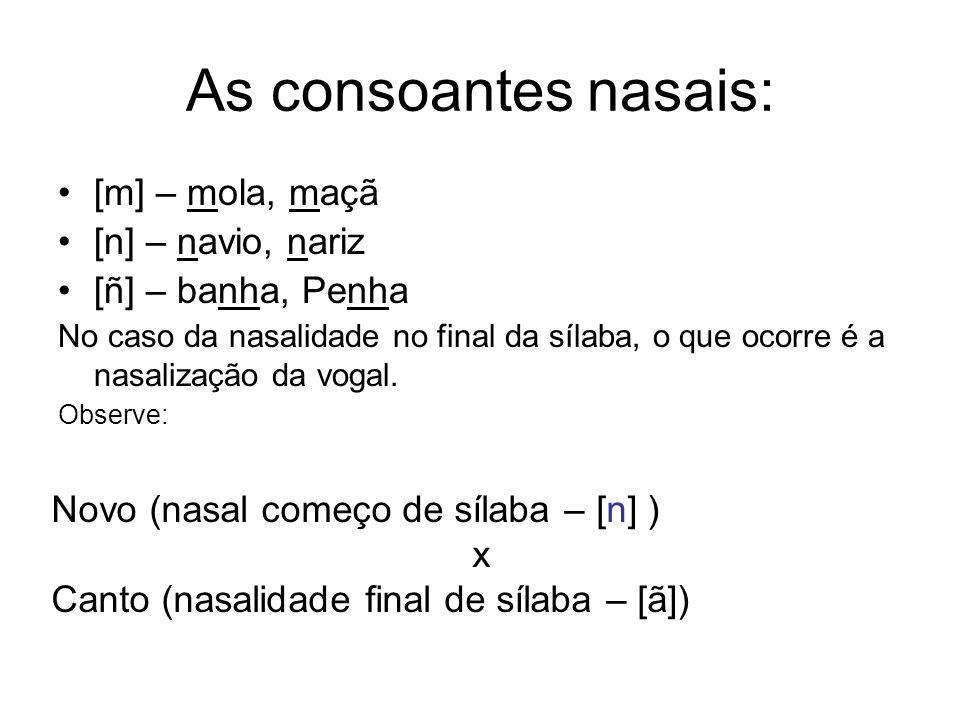 As consoantes nasais: [m] – mola, maçã [n] – navio, nariz